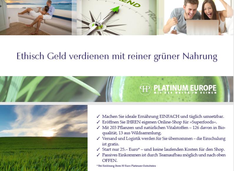 Geschäftsmöglichket im Network Marketing mit Platinum Health Europe